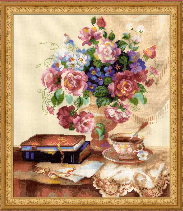 Вышивка крестом-наборы цветы